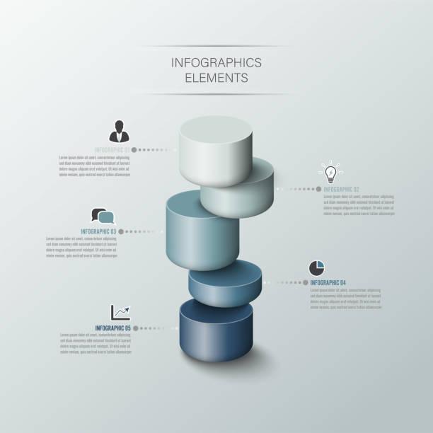 Cilindro de negocios moderno 3d estilo opciones banner. Vector. se puede utilizar para el diseño del flujo de trabajo, diagrama, opciones de número, opciones de paso a paso, diseño web, infografías, línea de tiempo. - ilustración de arte vectorial