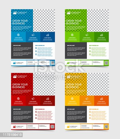 Modern business flyer design template set, vector illustration