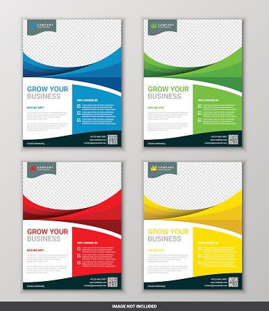 Modern business flyer design template set, vector illustration