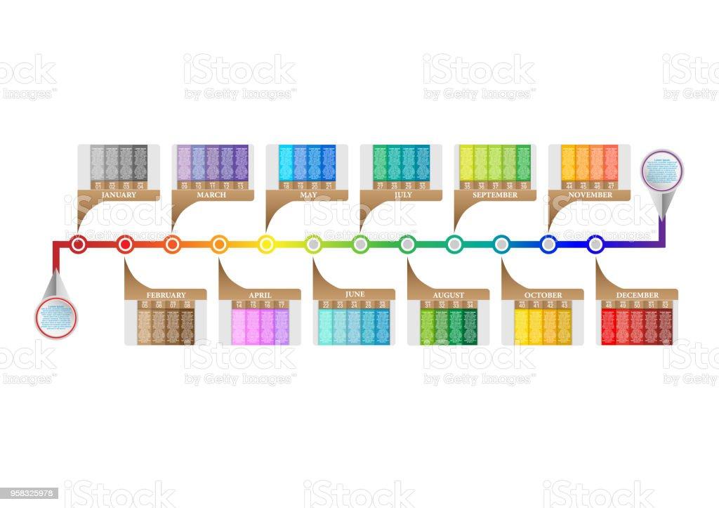 Moderne Horizontale Zeitachse Prozess Infografiken Diagrammvorlage ...