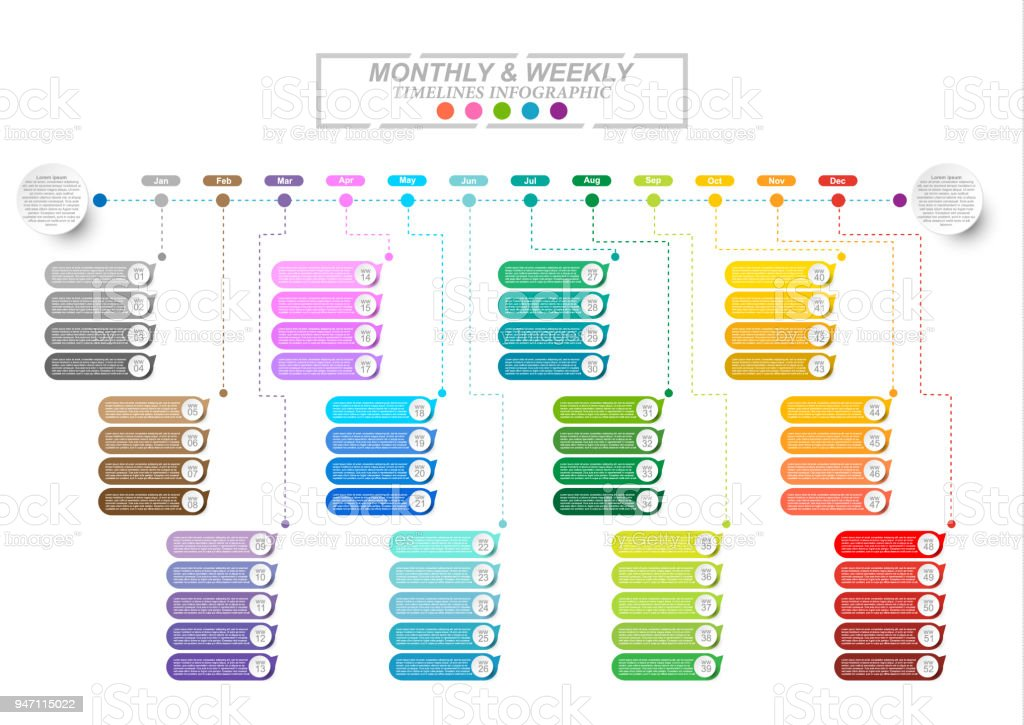 Modern business horizontal timeline process chart infographics template. Vector banner used for presentation and workflow layout diagram, web design. Abstract elements of graphic monthly and weekly plan. Vector EPS10 vector art illustration