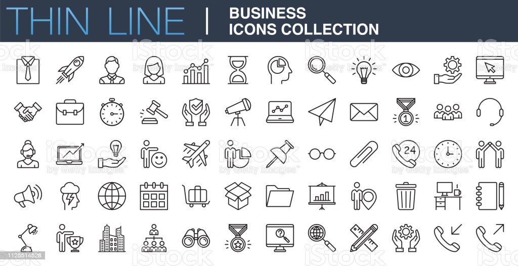 Modern Business Icons Collection - Grafika wektorowa royalty-free (Biuro)