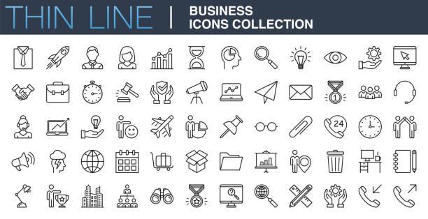 kolekcja nowoczesnych ikon biznesowych - produkować stock illustrations