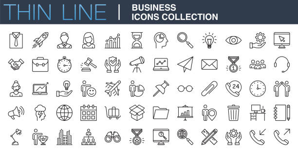 illustrazioni stock, clip art, cartoni animati e icone di tendenza di modern business icons collection - icons
