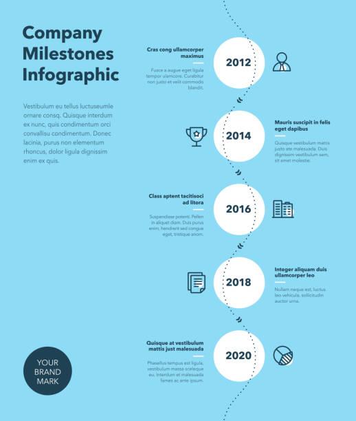 公司里程碑時間表範本的現代商務資訊圖,帶行圖示 - 藍色版本 - 垂直構圖 幅插畫檔、美工圖案、卡通及圖標