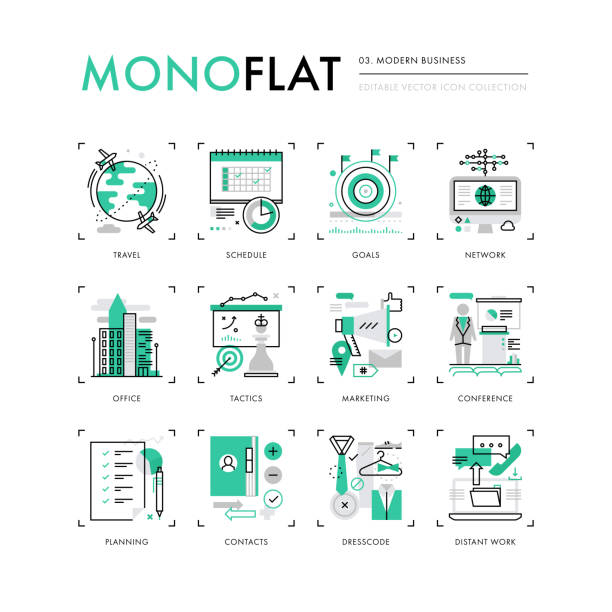 modern business monoflat icons - abstract calendar stock illustrations, clip art, cartoons, & icons