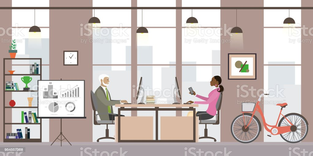 Modern business office or coworking place,interior design with f vector art illustration