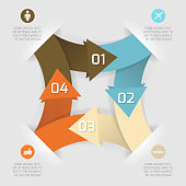 Modern business origami style options paper banner. Vector illustration with icon set. Useful for web design and infographics.