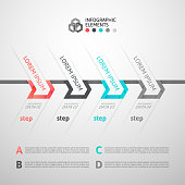 Modern business step origami style options banner, vector illustration