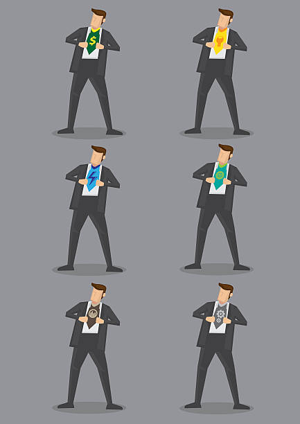 modern business superhero vector icon set - funktionsjacke stock-grafiken, -clipart, -cartoons und -symbole