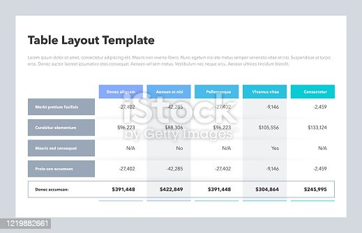 Modern business table layout template with the total sum row and place for your content. Flat design, easy to use for your website or presentation.