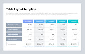 istock Modern business table layout template with the total sum row and place for your content 1219882661