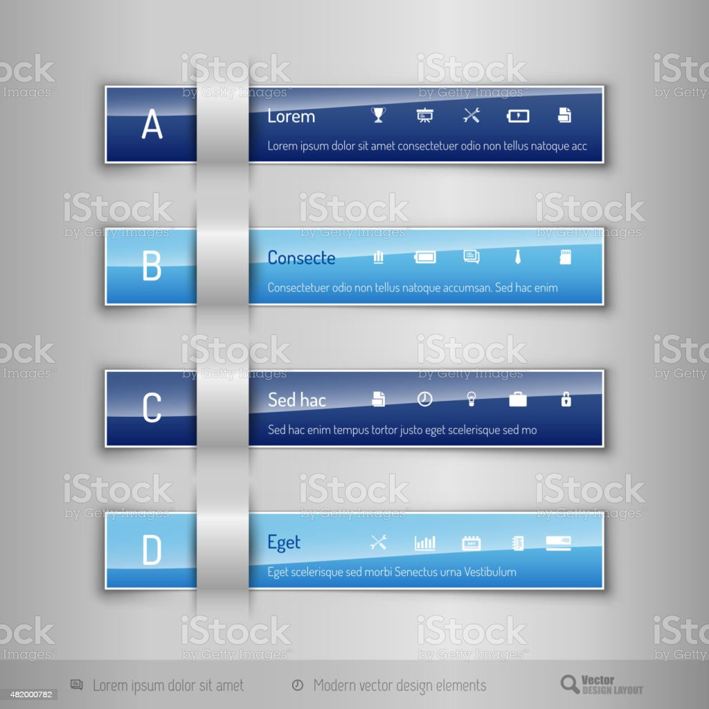 modern business tabs template for web design or stock vector art