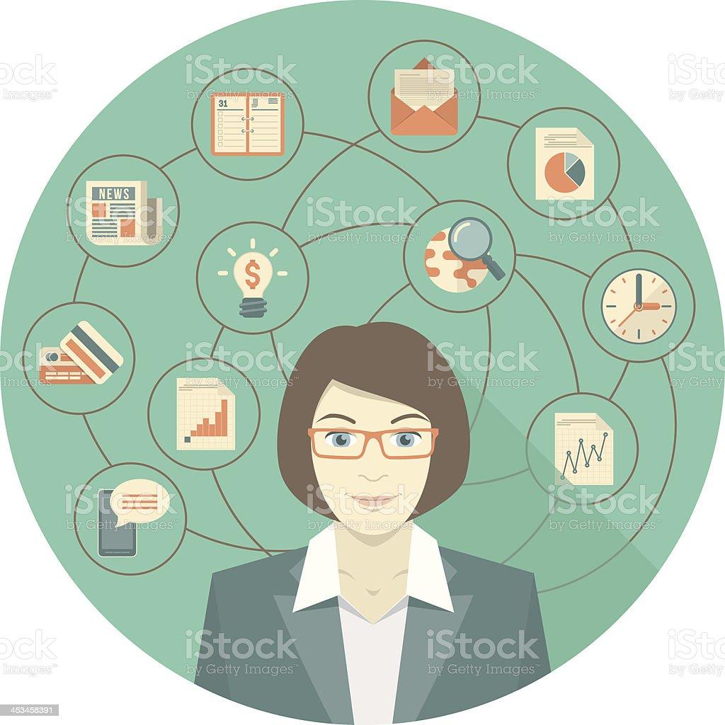 Modern Business Woman Concept vector art illustration