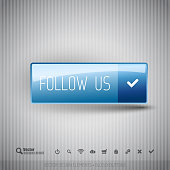Modern button with FOLLOW US icons set.
