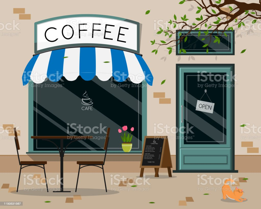 Modern Cafe Shop Exterior Street Cafe Outdoor Terrace Flat Design Vector Illustration Stock Illustration Download Image Now Istock