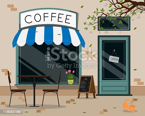 istock Modern café shop exterior, street café outdoor terrace flat design, vector illustration 1150531567