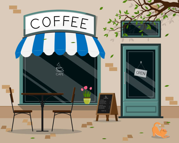 bildbanksillustrationer, clip art samt tecknat material och ikoner med modern kafé butik exteriör, gatu kafé utomhusterrass platt design, vektor illustration - fika