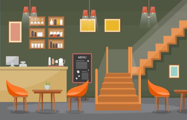 ilustrações de stock, clip art, desenhos animados e ícones de modern cafe coffee shop interior furniture restaurant flat design illustration - kitchen counter