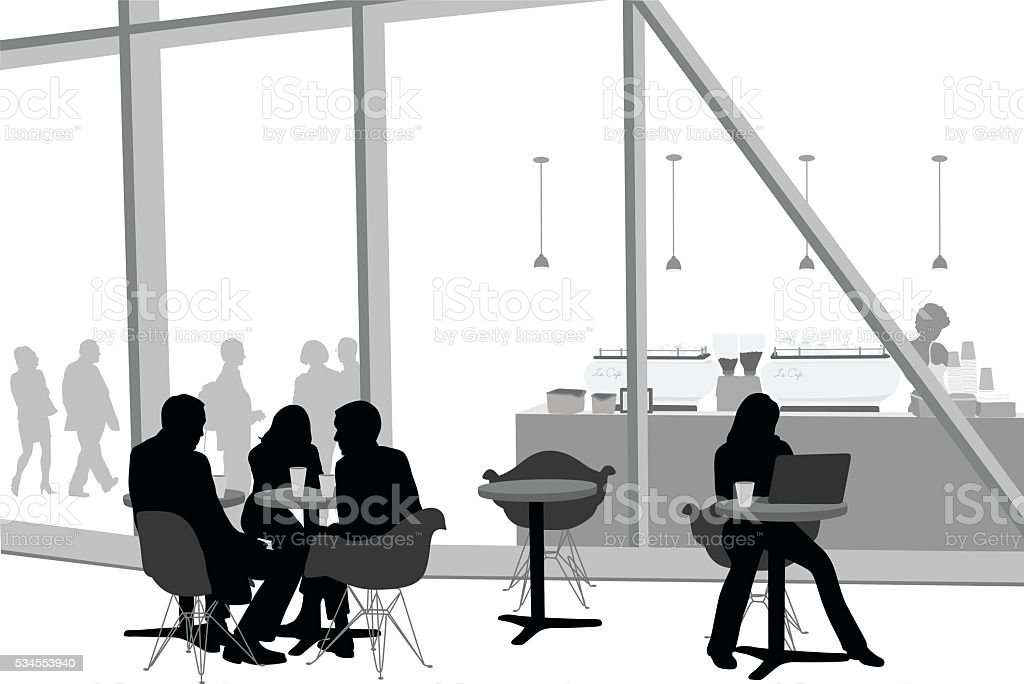 Modern Cafe Friends vector art illustration