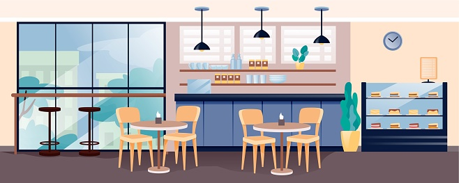 Modern cafe interior design. Empty cosy cafeteria with coffee and cakes vector illustration. Counter, shelves with cups, display of sweet cakes, tables with chairs, window view