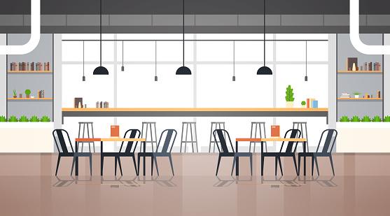 modern cafe interior empty no people restaurant cafeteria design flat horizontal vector illustration