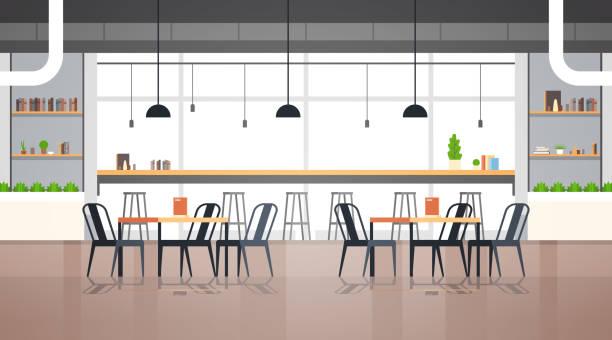 moderne café-interieur leer keine menschen restaurant cafeteria design flache horizontale vektor-illustration - restaurant stock-grafiken, -clipart, -cartoons und -symbole