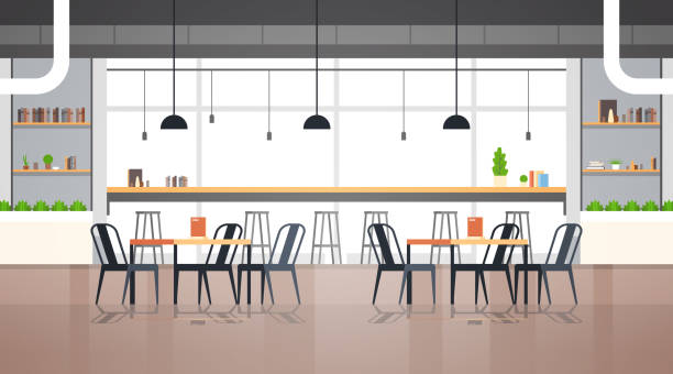 modern cafe interior empty no people restaurant cafeteria design flat horizontal vector illustration - ресторан stock illustrations
