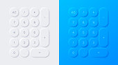 Modern neumorphism calculator addition subtraction multiplication and division number 3d push button design.