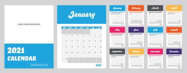 2021 Modern Calendar. Template to Apply Company's Logo & Website. Week Starts on Sunday. Set of 12 Months and Cover Page. Vector Illustration. calendars templates stock illustrations