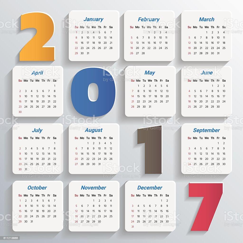2017 modern calendar template vectorillustration 2017年のベクター