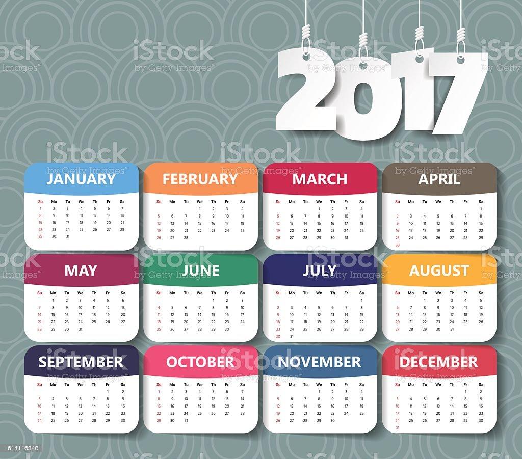 2017 Modern calendar template .Vector/illustration. vector art illustration