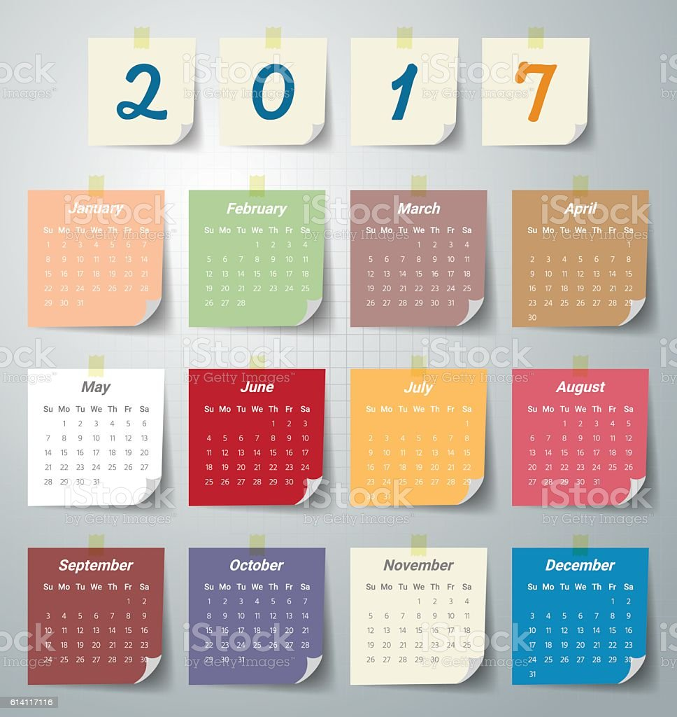 2017 Modern calendar template .Vector/illustration. vector art illustration