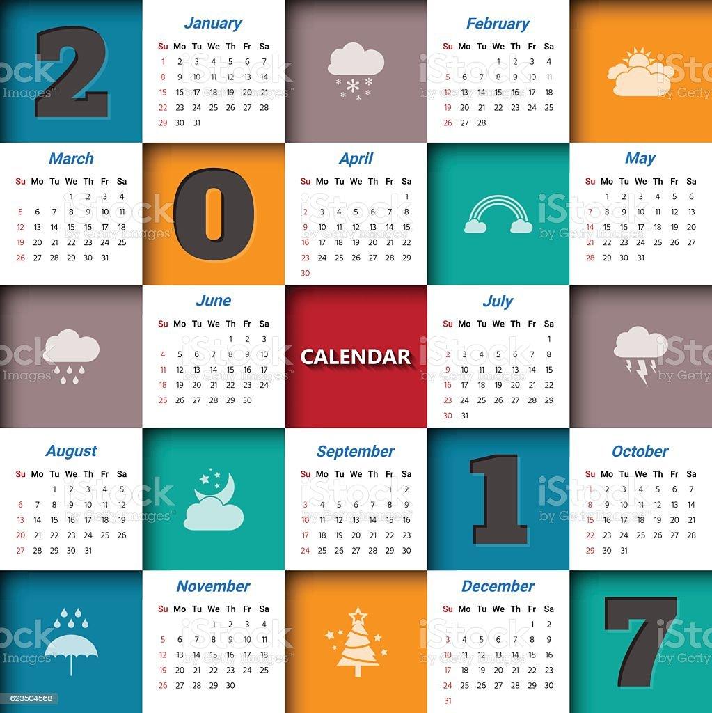 Calendar Modern Art : Modern calendar template vectorillustration stock