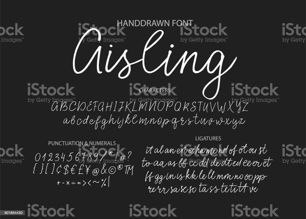 Modern calligraphic font. Brush painted letters royalty-free modern calligraphic font brush painted letters stock illustration - download image now