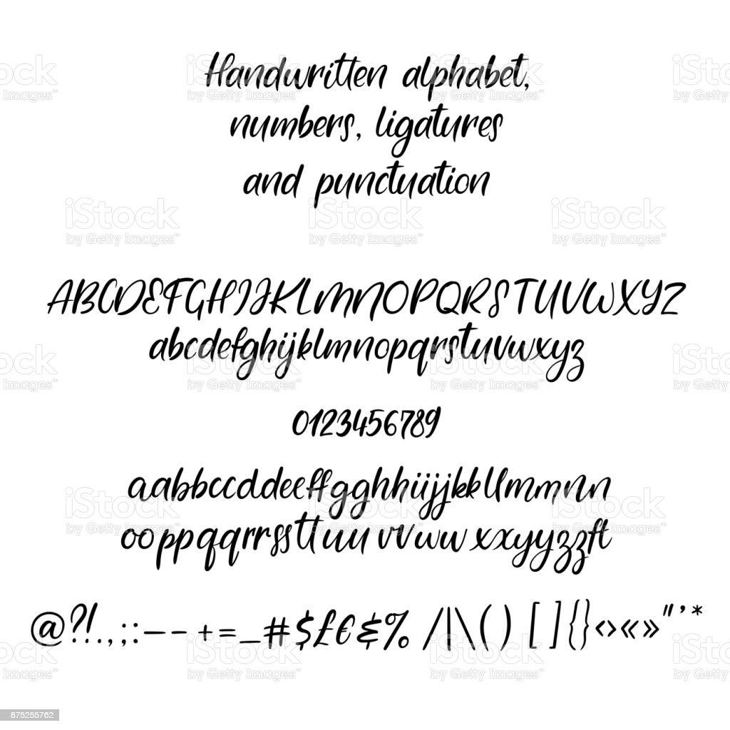 Modern Hat Alfabe El Yazısı Fırça Harfler El Yazı Yazı Tipiyle