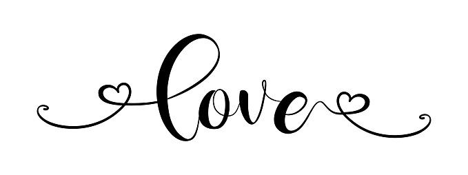 LOVE. Modern calligraphy script love.