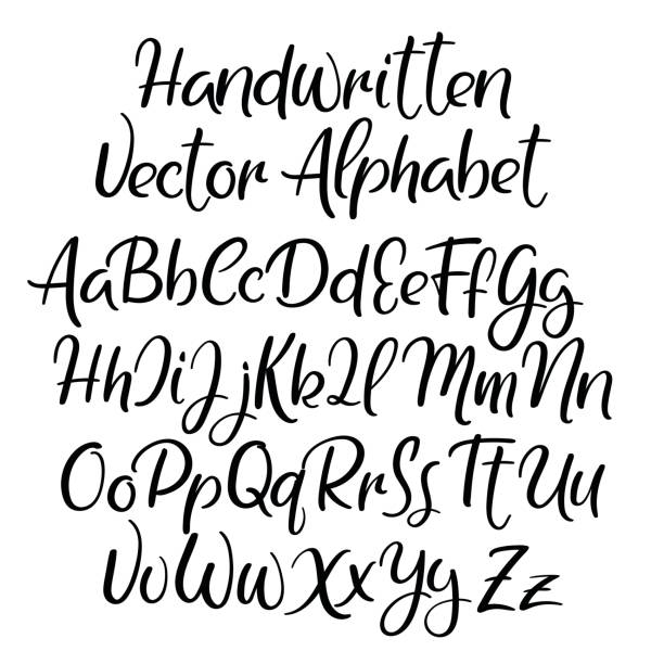 Modern calligraphy style. alphabet. Handwritten font. Uppercase and lowercase letters. Modern calligraphy font. Handwritten brush letters. Uppercase, lowercase. Hand lettering alphabet for your design: wedding calligraphy, slogan, window decor, postcard, greeting card handwriting stock illustrations