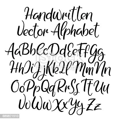 Modern Calligraphy Style Alphabet Handwritten Font Uppercase And Lowercase Letters Stock Vector Art More Images Of 689821510