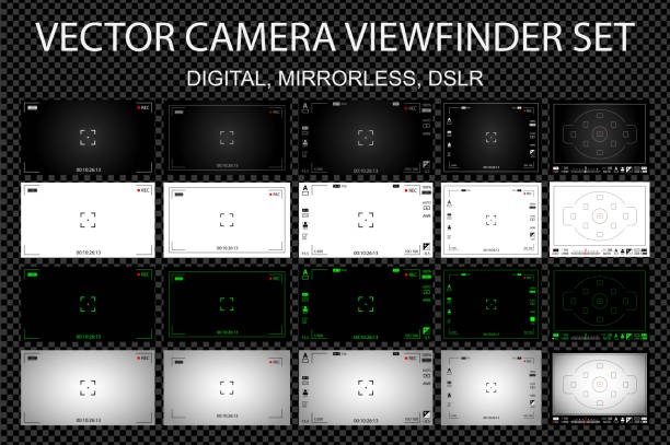 Modern camera focusing screen with settings 20 in 1 pack - digital, mirorless, DSLR. White, black and green viewfinders camera recording. Vector illustration vector art illustration