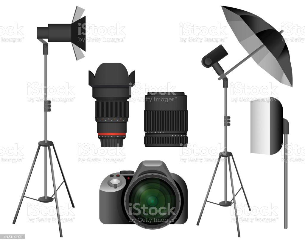 Moderne Kamera Mit Objektiven Und Beleuchtungsanlagen Stock Vektor ...