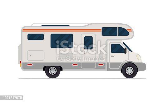 istock Modern camper van. Comfortable motorhome. Side view. 1271717975