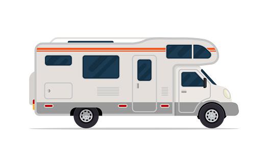 Modern camper van. Comfortable motorhome. Side view.