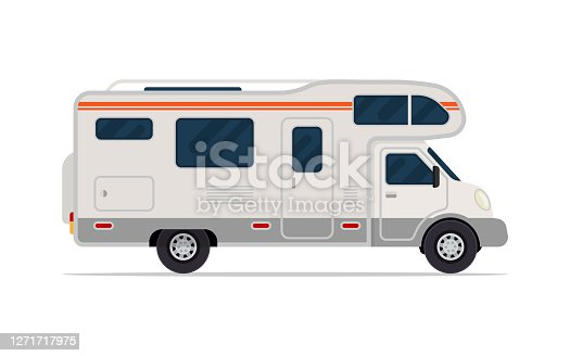 Modern camper van. Comfortable motorhome. Side view. Vector illustration. Isolated on white background.