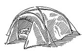 Modern Camping Tent Drawing