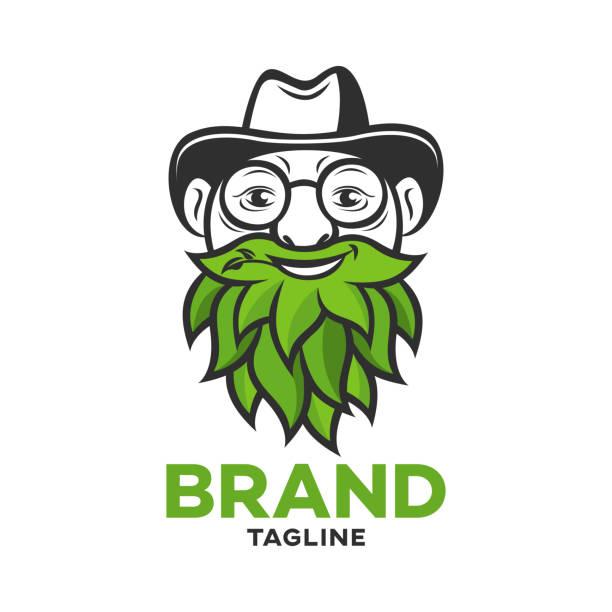 modern cannabis old man logo - old man hat stock illustrations, clip art, cartoons, & icons