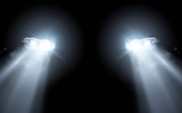 illustrations, cliparts, dessins animés et icônes de voiture moderne phares lumineux fond - voiture nuit