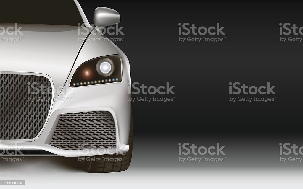 Modern Car. Dark background with copy space vector art illustration
