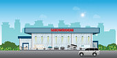 Modern car dealership centre showroom building includes cars on the display and test drive car, automobile showroom exterior vector illustration.