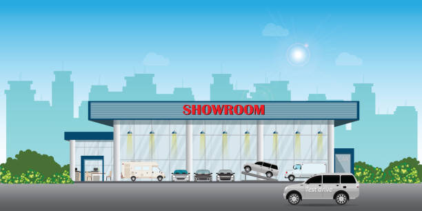 Modern car dealership centre showroom building includes cars on the display and test drive car. Modern car dealership centre showroom building includes cars on the display and test drive car, automobile showroom exterior vector illustration. car salesperson stock illustrations